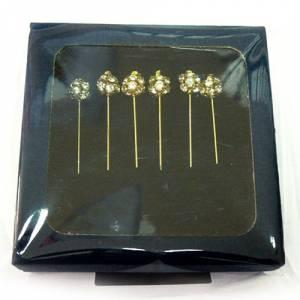 Liquidación Alfileres - alfiler novia dorado en caja de seis unidades (Últimas Unidades)